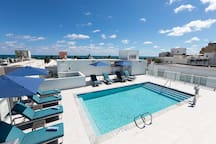 View of the Rooftop Pool located next door in President Villa - Accessible by all the guests in President Hotel