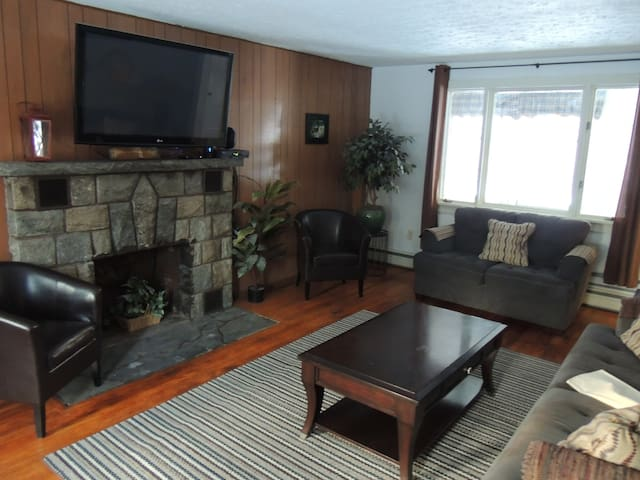 Seating and TV in the spacious living room