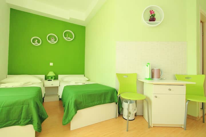 Green room(two single beds)