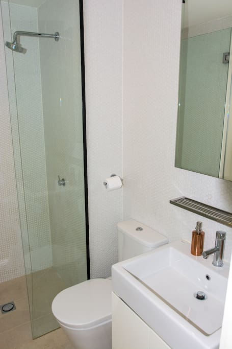 Decent sized shower, all natural body wash and hand soap and a hairdryer all included in this neat, modern bathroom.