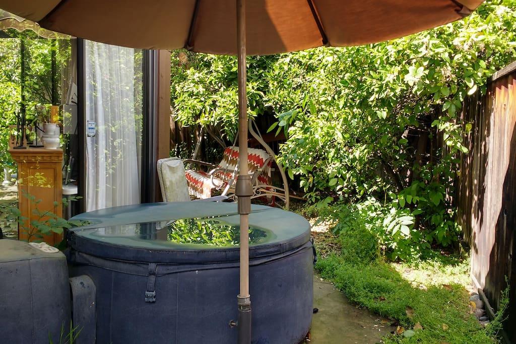 Jacuzzi in backyard