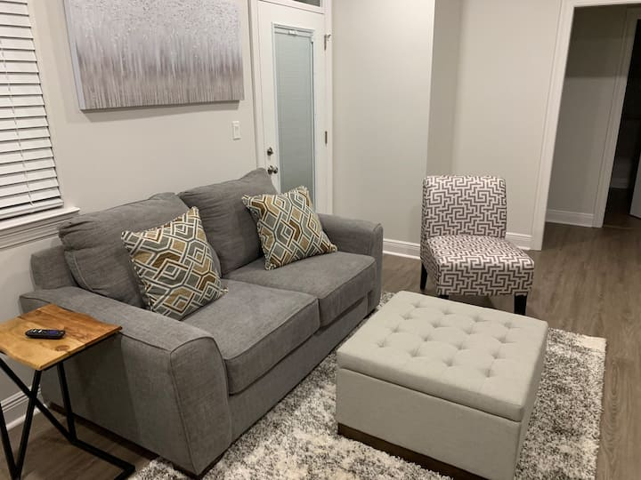 Modern lower level renovated midtown apartment!