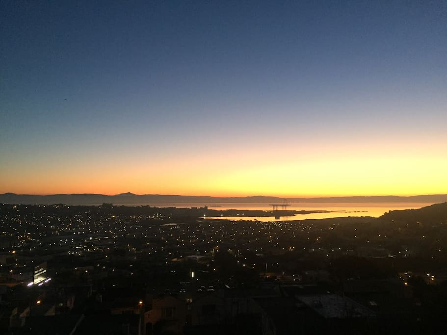 Sunrise from the House looks over the Bay