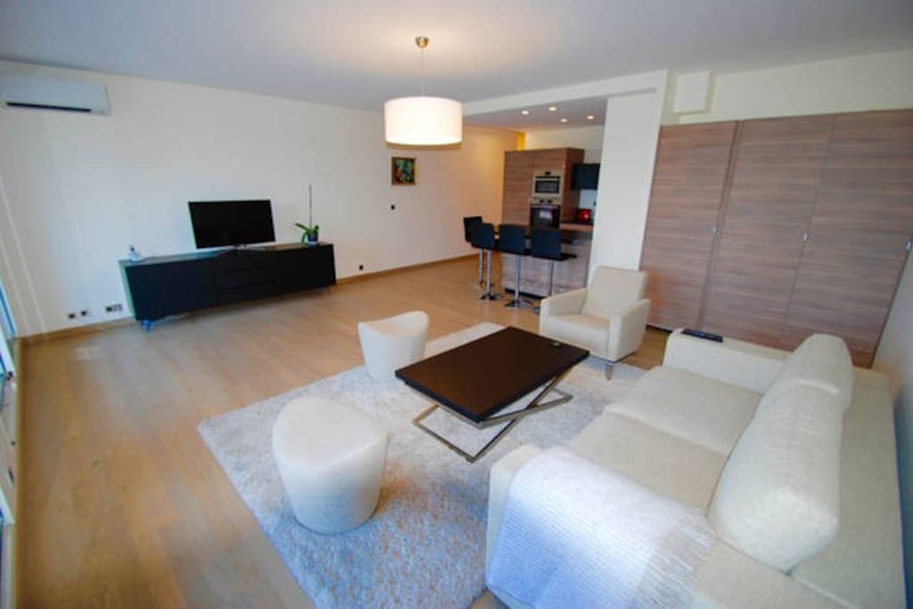 Lounge area with flat screen tv, bose sound-link-mini system, luxury fittings and furnishings.