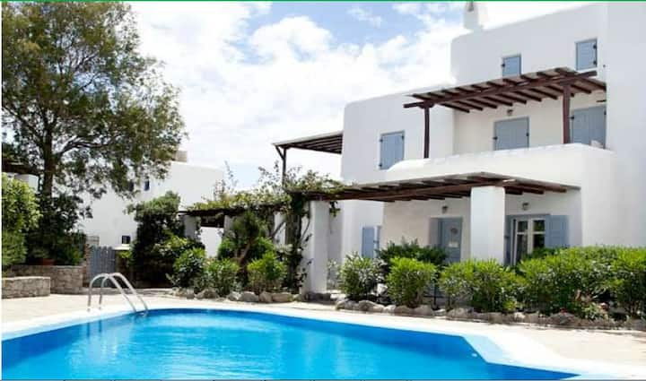 Romantic apartment at Ornos beach,swimming pool!