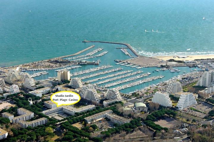 Cosy Studio Jardin Neuf au calme Port Plage Casino