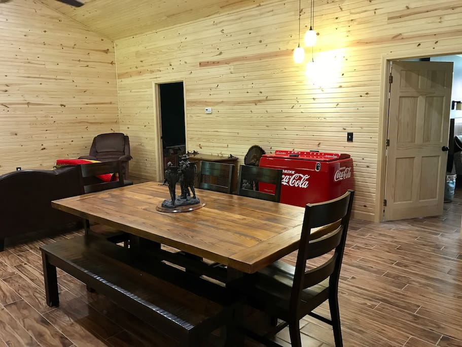Working Coke cooler, family style table comfortably seats 7.