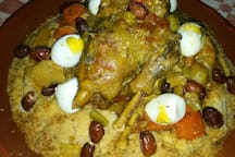 Couscous with eggs and dates.