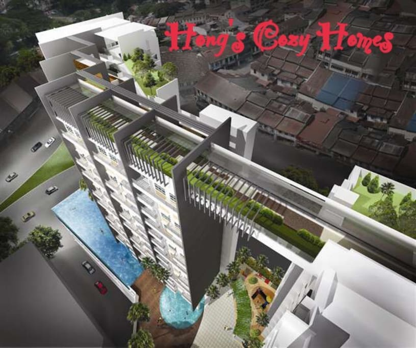 Perspective view of the condo. Sky bridge connected 2 blocks :)
