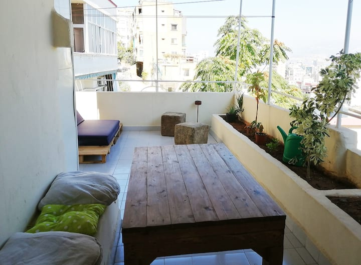 Sunny two bedroom apt w/balcony + view