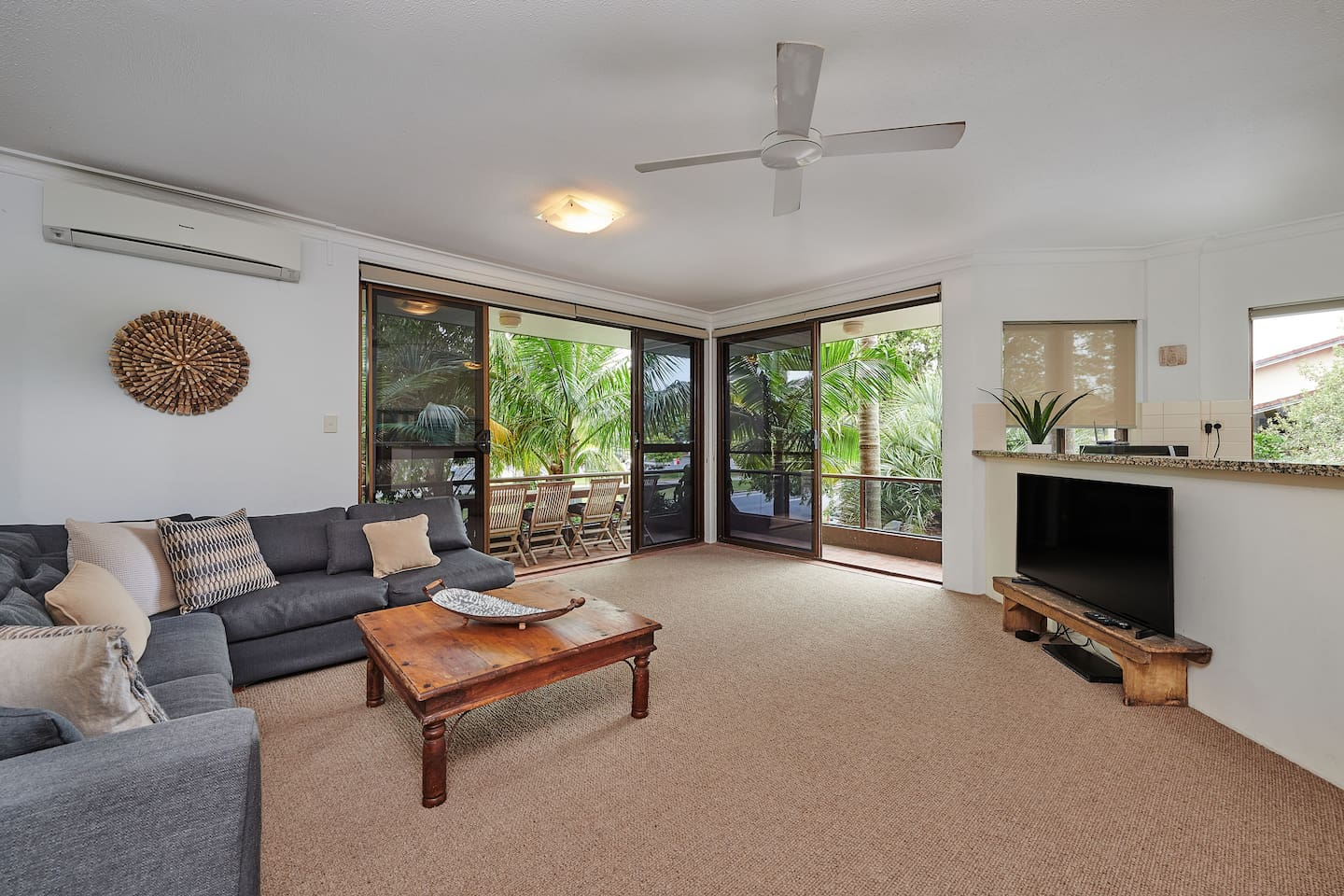 Open Plan Living, Dining and Kitchen opening onto wrap around balcony