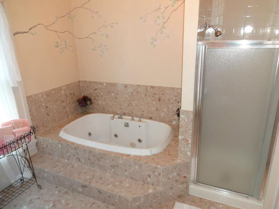 here we see the Jet tub with separate shower located in the Bridal suite
