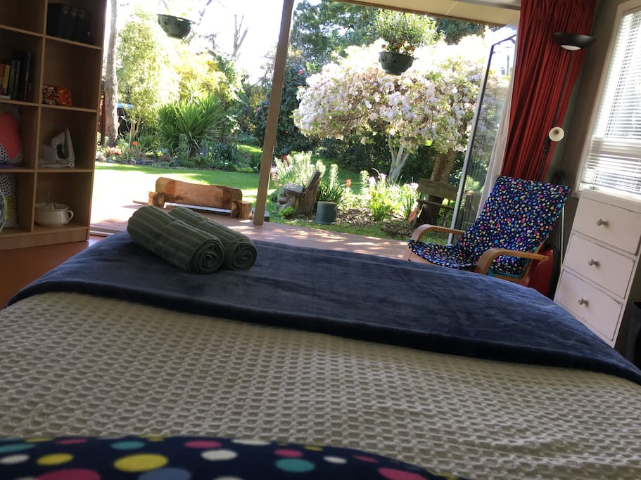 Your view lying in bed, French bifold doors fold back you can sleep with them fully open in the summer.