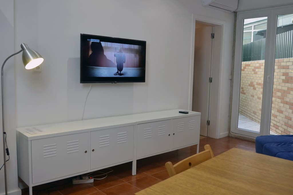 Modern large TV and air conditioning