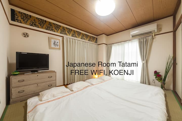 Shinjuku 6 min Train, Koenji- Japanese Tatami Room