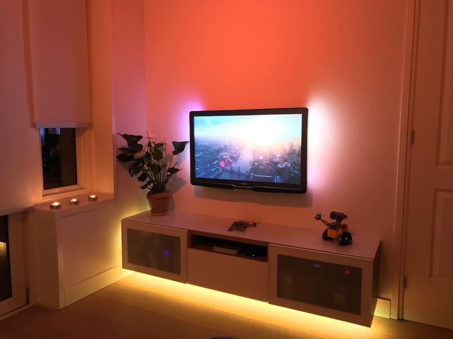 Entertainment unit: HD TV, Digital Cable, Apple TV.