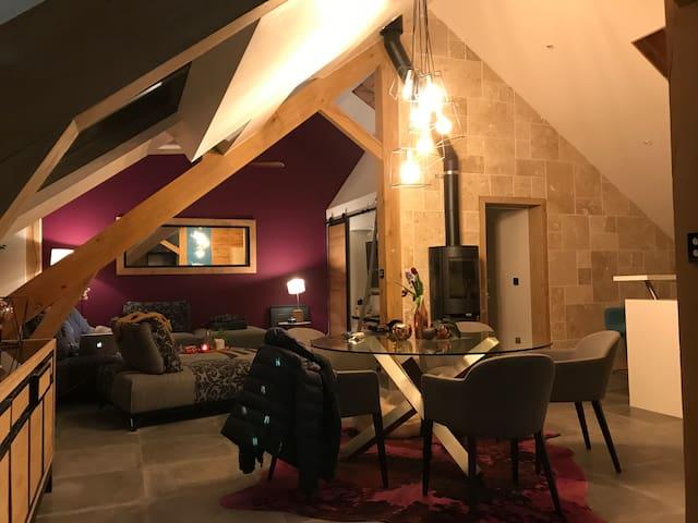 Chambre d'amis - bel attique atypique vieux moulin