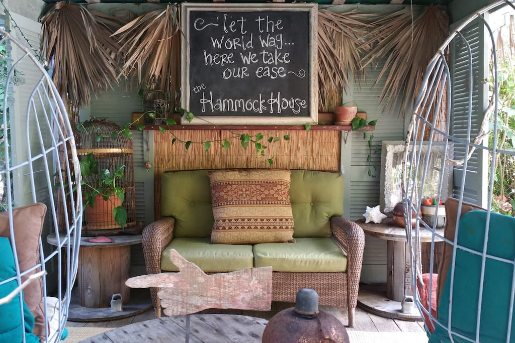 The tiki hut, with its hanging chairs, is a great place to relax after a long day playing on the water.