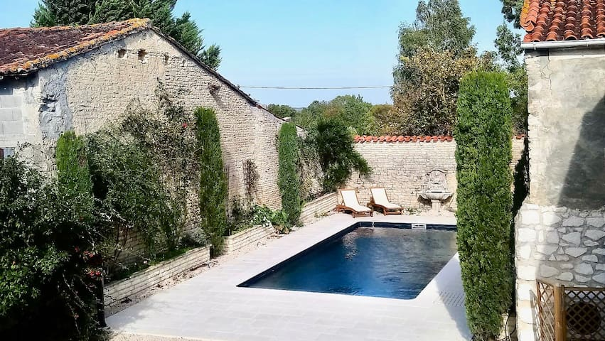 House with swimming pool in a historical village