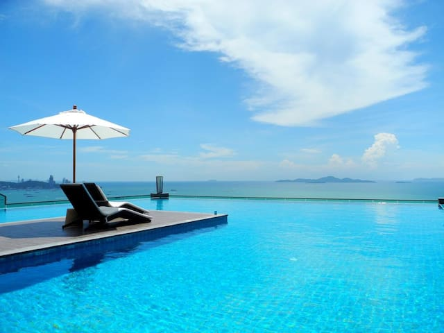 Wong Amat Tower, 2-bed apt, free Wi-Fi, priv. lift - Pattaya City - Résidence de tourisme