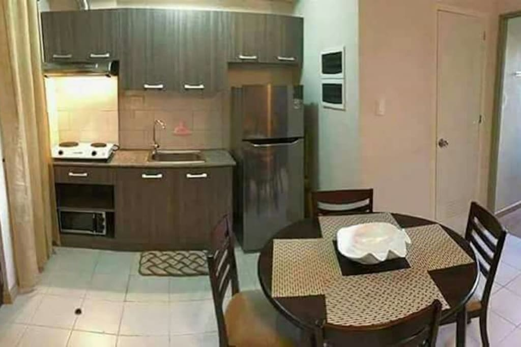 kitchen has electric stove, refrigerator, microwave oven, slippers