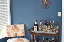 Our antique bar cart, please ask a host before enjoying a beverage.