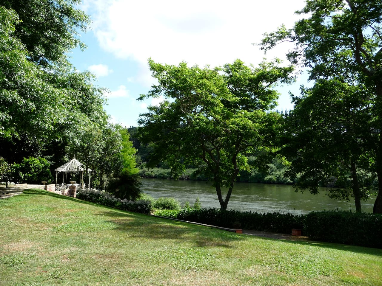 The Waikato River runs passed the property, there is a grassed area, where you can sit and enjoy the tranquility of the River.  There is a aerial photo included in the photos that shows you where the boatshed is situated on the property.