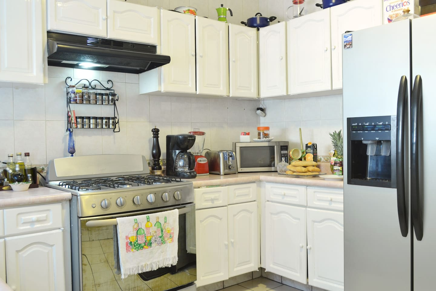 A smaller kitchen is well equipped with everything that is needed to feed a lot of people if that is what you want to do. It also is a great storage area for longer stays for business or school.