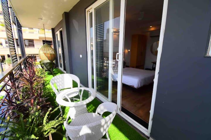 Room with Balcony and Garden @ BK Studios