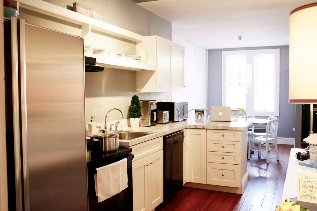 A newly renovated kitchen, stocked with everything you need to relax
