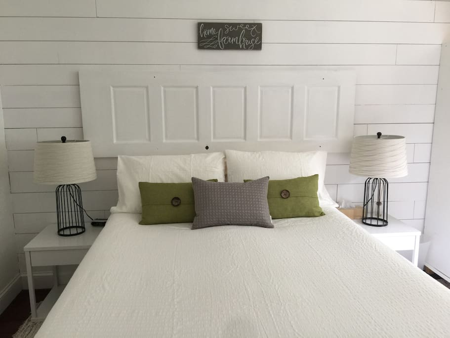 The queen-sized pillow top mattress, cozy duvet and organic cotton sheets promise to wrap you in rustic comfort.