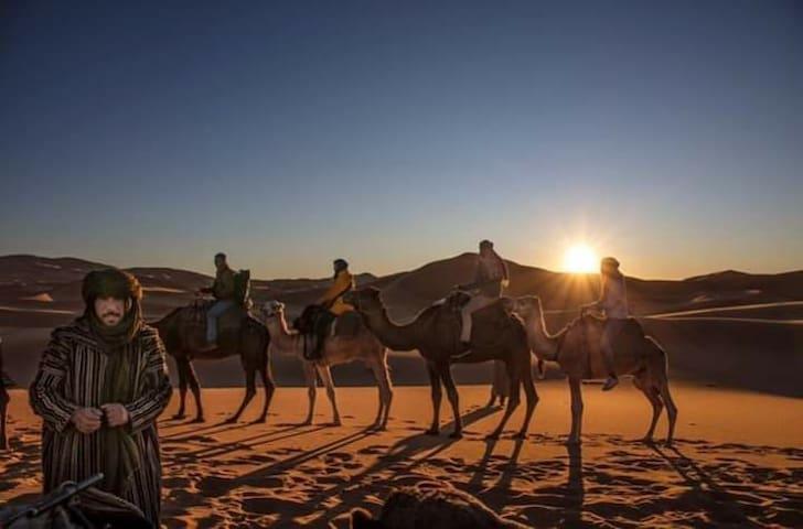 Berber house / Camel trek Two single Beds & Double