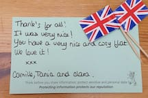 'thank you' note from the first guest :-)