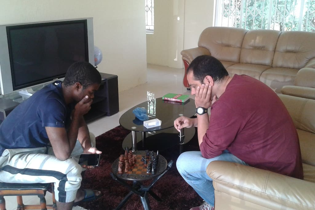 Playing chess in the common area
