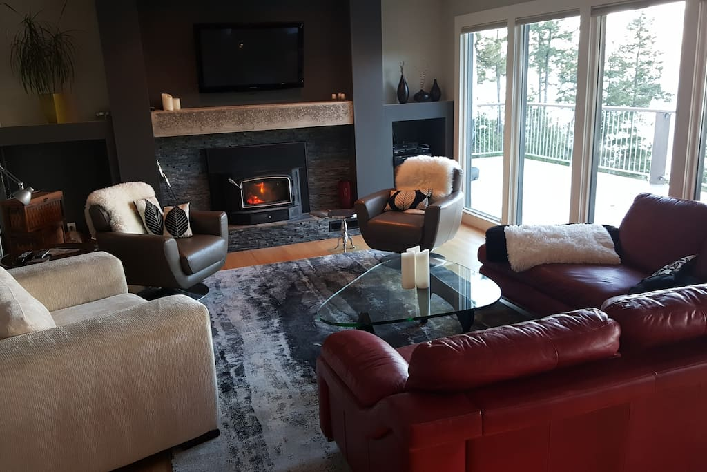 Warm living room with fireplace