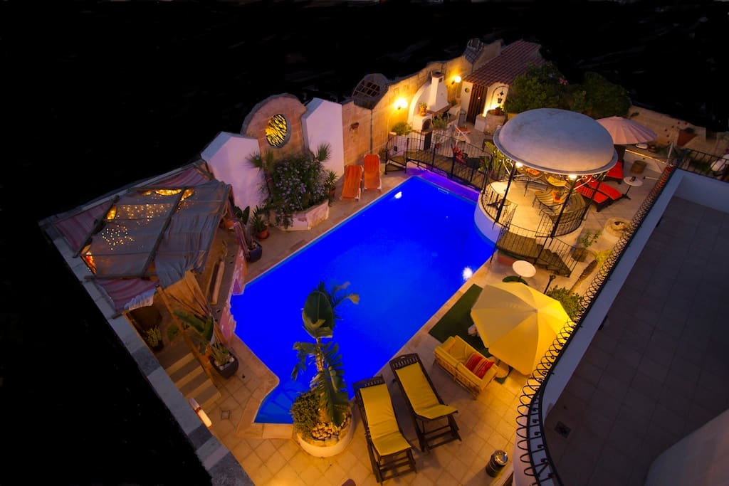Bird's Eye View of Pool Area at night