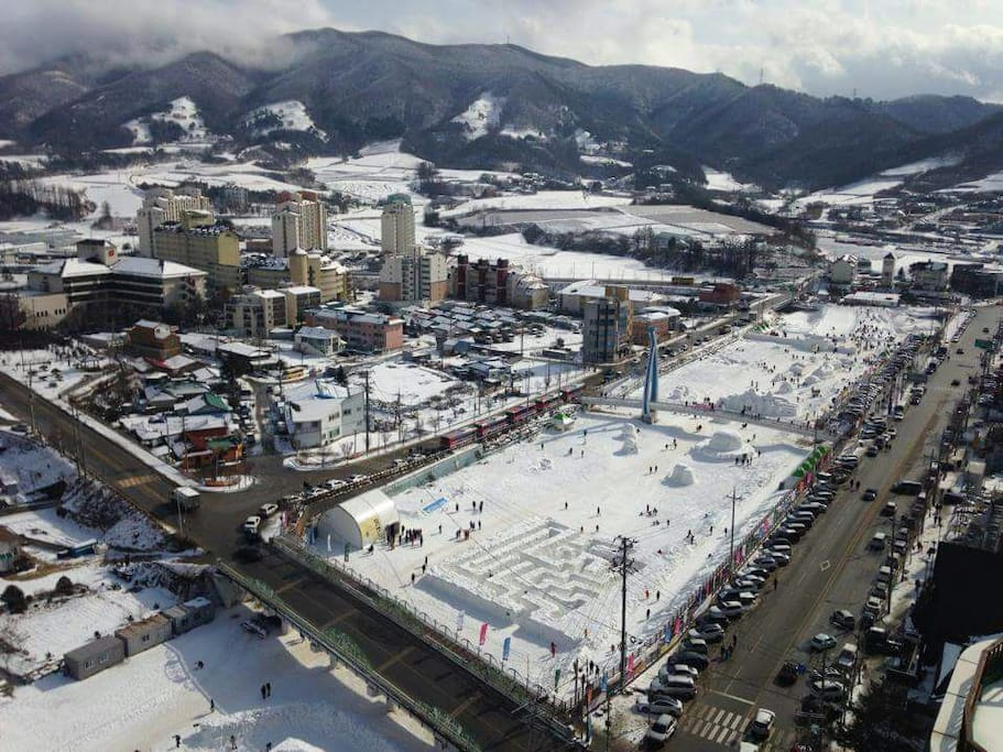 View from our window. Our house is in front of the Pyeongchang Snow Festival (Late January or Early February every year)