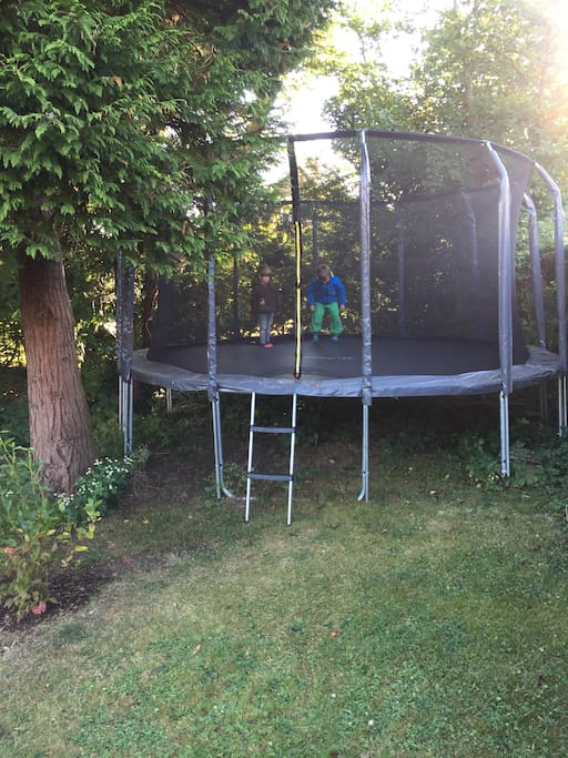 Large trampoline in the garden
