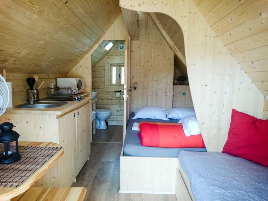 Cabane Tröll, aménagement intérieur