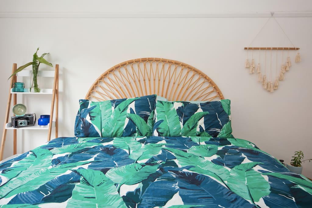 Make yourself comfortable in your own beachy bohemian style room with comfy queen mattress, and tempurpedic pillows.