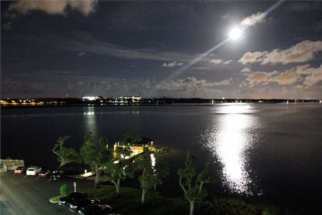 Stunning full moon reflection on Biloxi's beautiful Bay.