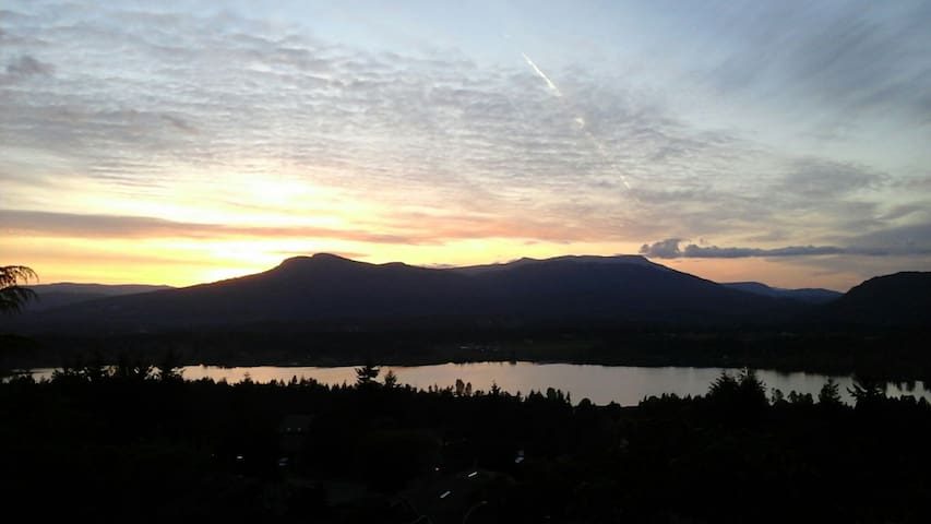 Spring sunset.  The view is of Mt Prevost and Quamichan lake.
