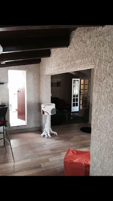 Espace salon tout en parquet et coin TV wifi internet très agréable et climatisée
