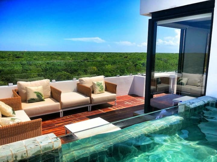★ Lux Jungle Penthouse ★ Overlooking Tulum Ruins ❂