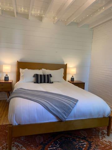 Cozy queen bed in bedroom #1