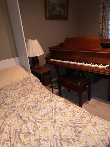 Bedroom with grand piano