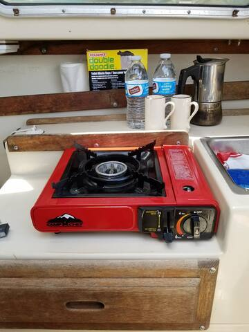 Single burner camp stove and espresso maker.