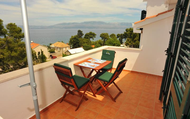 Studio flat with terrace and sea view Sutivan, Brač (AS-16846-a)