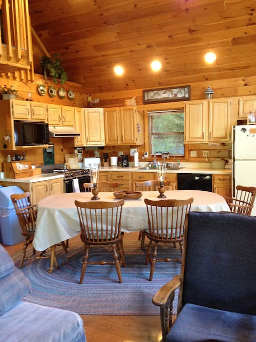 Open kitchen and eating area.