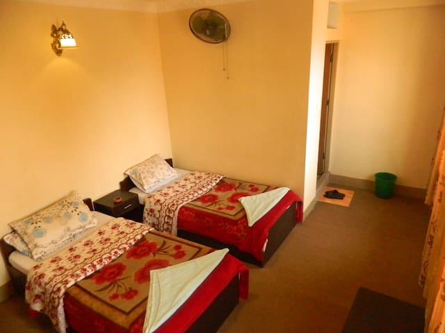 Double bed with private bath